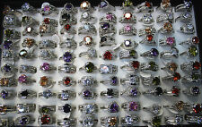 Lots 30pcs Rhinestone Big Zirconia Silver Plated Colorful Charm Top Quality Ring
