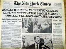 1981 NY Times newspaper Hinckley ASSASSINATION ATTEMPT  President RONALD REAGAN