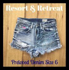 Distressed Denim Shorts, Size 6, Preloved, Dark Blue, Great Cond, Lyla & Co