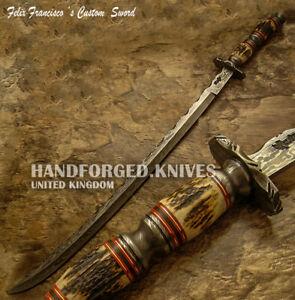 FELIX FRANCISCO CUSTOM HAND MADE UNIQUE MEDIEVAL DAMASCUS SWORD KNIFE STAG