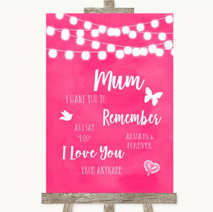 Wedding Sign Hot Fuchsia Pink Watercolour Lights I Love You Message For Mum