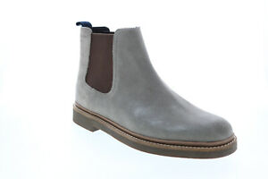 Clarks Bushacre Up 26125199 Mens Gray Leather Slip On Chelsea Boots