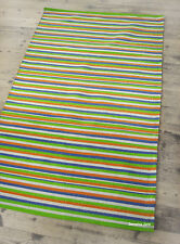 ❤️ Striped Cotton Hand Made Rug 90 x 150cm Traditional Blue Green Scandi Boho