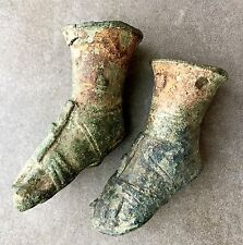 A Pair Of Antique Bronze Roman Feet Attachments