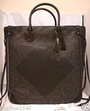 NWT COACH Tatum Studded Tall Tote Handbag Black Pebble Leather 33928 Dust Cover