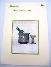 """Wedding Anniversary Card Completed Cross Stitch Champagne 6x4"""""""