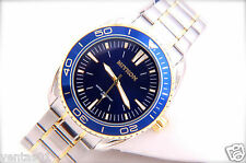 Sport Watch Blue Dial Color Two-Tone Stainless Steel Band Water Proof 30M #N2376