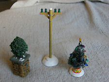 DEPT 56 SIX INCH TELEPHONE POLE, CHRISTMAS TREE & SCRUB ACCESSORIES