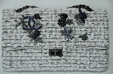 11 NEW CHANEL CLASSIC FLAP FANTASY TWEED EVENING GARDEN CHARMS BLACK WHITE BAG