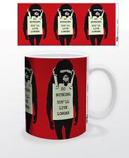 DO NOTHING MONKEY 11 OZ COFFEE MUG FUNNY CUP RELAX BANKSY ARTIST GRAFFITI SOCIAL