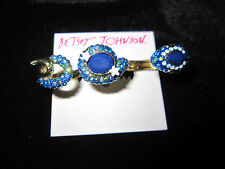 BETSEY JOHNSON BETSEY BLUES PAVE BLING SNAKE 3 FINGER RING SIZE APPROX 9 1/2 75