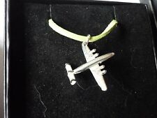 """Lockheed Constellation Aircraft c18 English Pewter On a 18"""" Green Cord Necklace"""