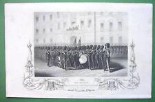 QUEEN VICTORIA'S Fusilier Guards Review - 1860 Engraving Print Ornamental Border