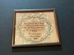 1810 School Girl Letica Lancaster Plymouth School Poignant Sampler