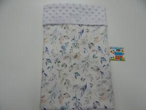"""Baby Blanket Australian Native Leaves 80cm x 60cm (33""""x 25"""") Minkee Dot Back"""