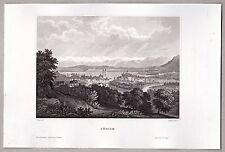 Zürich Schweiz - Panorama - Grafik, Stich, Original Stahlstich 1850