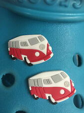 2 Red VW Dormobile Camper Van Shoe Charms For Crocs and Jibbitz Wristbands.