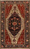 Antique Tribal Geometric Malayer Hand-Knotted Area Rug Vegetable Dye Carpet 4x7