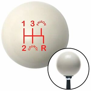 Red Shift Pattern CP15n Ivory Shift Knob fits 5 Speed Shifter County Prison