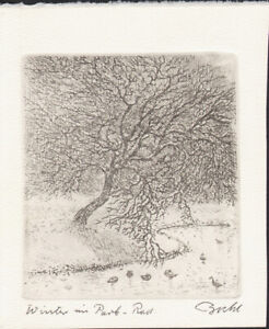 GERNOT BUHL -  WINTER IN A PARK * ORIGINAL HAND SIGNED SMALL ETCHING 1960s