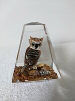 GREAT HORNED OWL Paperweight Hand wood carved in LUCITE Vintage Mid Century