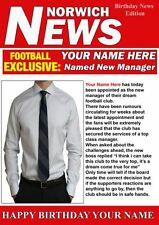 A5 Personalised Norwich  Football Manager News PIDH1 Greeting Birthday