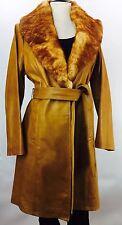 ARDEN B Belted Leather Vintage Butterscotch Tan Brown Fur Trimmed Jacket Coat L