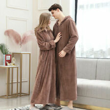 Men Ladies Dressing Gown Fleece Zip Bathrobe House Coat Hooded Towelling robe