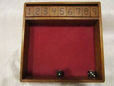 Shut the Box Dice game Board Set  - wooden - Nine Game w/ dice & instructions