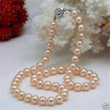 "Beautiful! 7-7.5mm Pink Akoya Natural Pearl Necklace 18"""