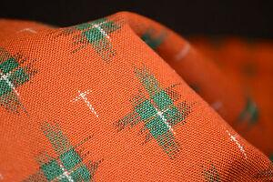 Japanese Woollen Kasuri Fabric Orange and Green 111