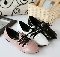 Women's Lace Up Faux Patent Leather Flat Casual Pointed Toe Shoes Oxfords Loafer