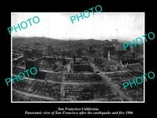 OLD POSTCARD SIZE PHOTO OF SAN FRANCISCO PANORAMA OF THE 1906 EARTHQUAKE