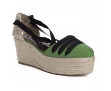 Womens Rochas Green Ankle Wrap Platform Espadrille Shoe Size 8.5