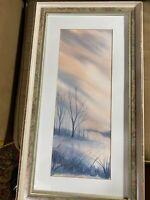 "Eileen Schwartz ""Winter Landscape Scene"" Watercolor Painting - Signed And Framed"