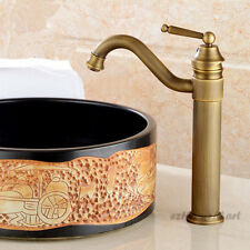 Antique Brass Bathroom Wash Basin Faucet Single Handle Swivel Spout Mixer Tap