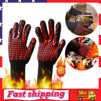 BBQ Hot Grilling Gloves 1472°F Silicone Extreme Heat Resistant Cooking Oven Mitt