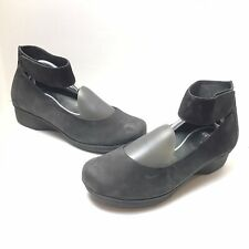 Dansko Black Suede Leather Slip On Mary Jane Ankle Strap Shoes Sz 42