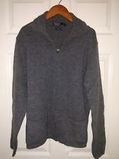 Ralph Lauren Zipper Front Cardigan Sweater 100% wool Long Sleeve Gray Pockets M