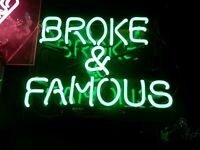 BROKE & FAMOUS SMALL NEON GREEN GAS SIGN * L@@K * NEON LIGHTED