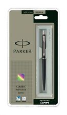 Parker Classic Matte Black Ballpoint / Ball Pen Matt Chrome With Blue Refill