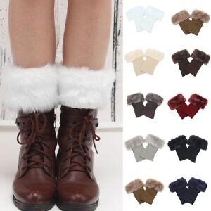 Winter Damen Soft Strickmanschetten Fell Knit Stiefel Stulpen Socken Beinwärmer