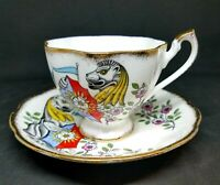 Vtg. Queen's Beasts, White Lion of Mortimer, Queen Anne, Cup and Saucer, England