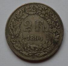1894 Switzerland Helvetia 2 Silver Francs Coin