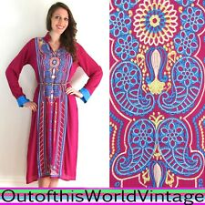 Fuchsia INDIA CAFTAN SARI EMBROIDERED FLORAL Purple Pink Robe Dress BOHO HIPPIE