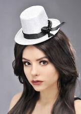 Burlesque Showgirl Mini Silver Top Hat