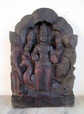 Antique Old Hand Carved Rose Wood South Indian God Kartikeya Figure Statue Penal