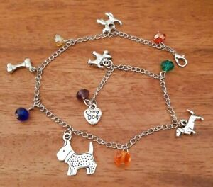Long Adjustable Anklet + Antique Tibetan Silver Dog Charms, Glass Crystal Beads