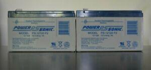 LOT OF 2 BATTERIES Power-Sonic 12V 12Ah F2 SEALED LEAD ACID AGM DEEP
