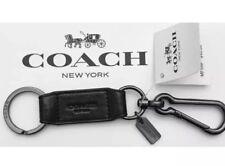 NEW Coach Black/Pewter Trigger snap Leather Valet Keychain Keyring Keyfob + Bag
